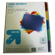"up & up™ 5-pk. Assorted Index Dividers 8.5""x11"""
