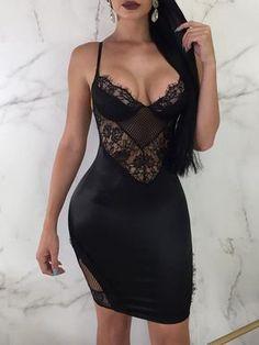 45a7c7ba27 Shop Eyelash Lace Splicing Backless Slip Bodycon Dress right now