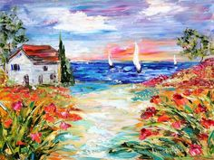 Original oil painting Villa by the Sea palette knife impasto ...