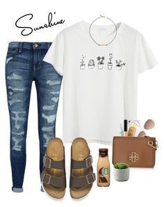 coffee talk by gabyleoni on Polyvore featuring polyvore, fashion, style, Chicnova Fashion, Current/Elliott, Birkenstock, Tory Burch, Vanessa Mooney, Ray-Ban, Maybelline, Origins, Sun Bum and clothing