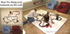 How to hang train tracks on your wall and never have to put them together again! So much less expensive than a train table! Used Piano, Train Table, Train Art, Playroom Decor, Playroom Ideas, Train Tracks, Pottery Barn Kids, Toddler Toys, Boy Room