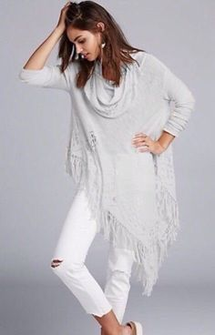 Women's Free People Over-Sized Temptress Fringe Poncho Sweater Gray M-L #FreePeople #Poncho #Casual
