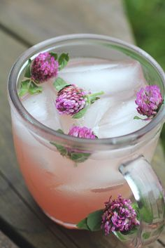 "Red Clover Lemonade - When we were little girls, we used to pull off the ""petals"" of red clover blossoms and suck the sugary syrup out of the white ends... never knew then that red clovers were actually good for you!"