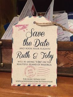 Destination Wedding Invitation. Save the Date by TheStylishScribe #VintageDestination