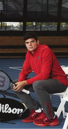 Milos_Raonic_Pant and Jacket_New_Balance_Roland_Garros Tennis Gear, Tennis Tips, Milos Raonic, Vintage Tennis, Sports Fanatics, Tennis Fashion, How To Treat Acne, Tennis Players, Sport Outfits