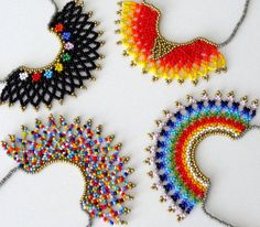 Beaded Multicolor HALF MOON Mexican Necklace handmade by Luciana Lavin Peyote beaded Multicolor Mexican HALF MOON Necklace handmade by Luciana Lavin by LucianaLavin Half Moon Necklace, Seed Bead Necklace, Beaded Earrings, Crochet Earrings, Seed Beads, Diy Jewelry, Beaded Jewelry, Jewelry Making, Jewellery