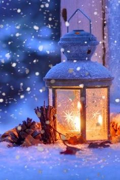 The Chill of Winter. Lanterns are great for setting a mood during the winter months Blue Christmas, Winter Christmas, Christmas Lights, Christmas Decorations, Beautiful Christmas, Christmas Scenes, Christmas Time, Merry Christmas, Coastal Christmas