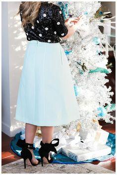 Blouse: sequin black sequins skirt midi skirt blue skirt sandals sandal heels high heel sandals