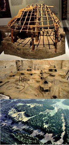 Ancient Rome: Reconstruction Models & Drawing of the  settlement / huts on the Palatine Hill around 10th c. BC.