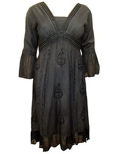 Eaonplus Black, Victorian Inspired, Embroidered, Bell Sleeve Dress.