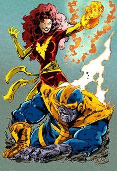 Dark Phoenix vs. Thanos By John Byrne