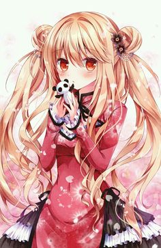 Anime picture with original nogi takayoshi long hair single tall image blush looking at viewer blonde hair red eyes simple background twintails white fringe holding hair flower parted lips hair bun (hair buns) floral print upper body girl Kawaii Girl, Kawaii, Anime People, Kawaii Anime, Japanese Anime, Anime Characters, Anime Drawings, Anime Style, Manga