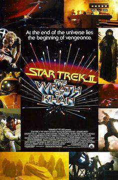 An original one-sheet movie poster x from 1982 for Star Trek II: The Wrath of Khan. Stars, Sci Fi Movies, Movie Props, Feature Film, Original Movie Posters, Wrath, Movie Posters, Film Posters, Poster