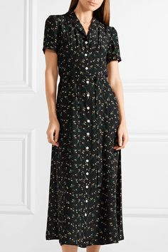 HVN | Long Maria floral-print silk crepe de chine midi dress | NET-A-PORTER.COM