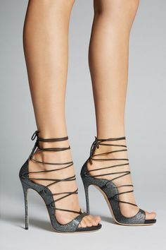 "Dsquared2 ""Riri"" dark-grey-leather open-toe lace-up ankle-wrap/tie very-high-spike-heeled sandals"