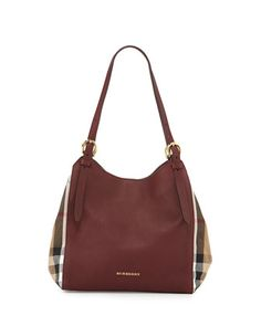 Leather Check-Side Hobo Bag, Mahogany Red by Burberry at Neiman Marcus.
