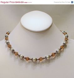 Cream and Topaz Renaissance Necklace by tbyrddesigns on Etsy, $39.00