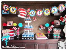 The cat in the hat party ideas and tutorials. Thing one and Thing Two. Dr. Seuss party ideas