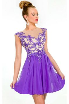 purple prom dress short