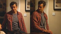 "Raylan wears the ""Full Commitment"" shirt open to reveal a gray cotton crew neck t-shirt. This short-sleeve t-shirt is a solid medium gray rather than the ..."