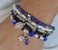 BLUE EYES - Multistrand Boho Gypsy Hippie Evil Eye Good Luck Stacking Stretch Bead Bracelets by GracefulFrog