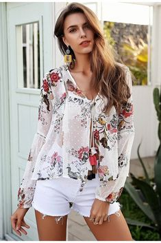 1431979bed4 Floral Print Chiffon Blouse Floral Fashion