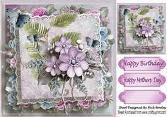 Pretty shades of pink blue flowers with butterflies on lace  on Craftsuprint - Add To Basket!