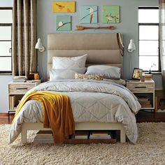 West Elm Wood Tile Accent Pieces, Tufted Headboard and Simple Bed Frame