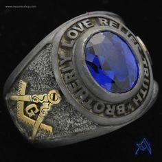 Two-tone, oxidized Masonic ring.