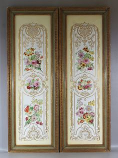 """Pair of Copeland Porcelain Plaques of important size, beautifully painted with bouquets of flowers, signature to back, plaques 35-1/2"""" x 9-1/2"""""""