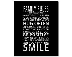 Canvas Art - Family Rules - inspirational wall art - subway art - typography word art - Always tell the truth, hug often, family inspiration by SusanNewberryDesigns on Etsy