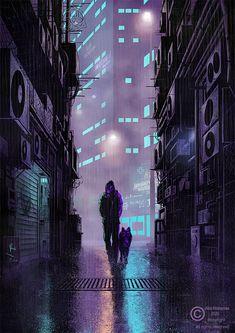 Cyberpunk artwork. A dark cyberpunk illustration i did during the quarantine days. Available prints on etsy. #cyberpunk #artwork #illustration #scifi #darkcity Rainy City, Dark City, Fantasy Illustration, Rest Of The World, City Art, Cyberpunk, Art Prints, Digital, Artwork