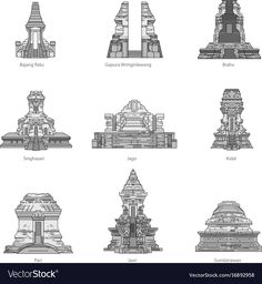 East java temple pack vector image on VectorStock Temple Architecture, Ancient Architecture, Fantasy Art Landscapes, Map Background, Indonesian Art, Borobudur, History Timeline, Hindu Art, Historical Pictures