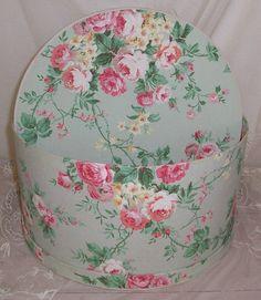Large ANTIQUE/Vintage Pink ROSES Wallpaper Hat Box