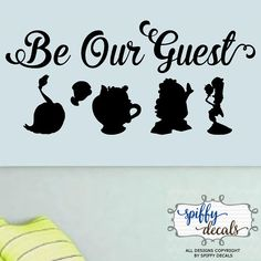 Be Our Guest Beauty And The Beast Vinyl Wall Decal Sticker Disney Silhouettes Quote
