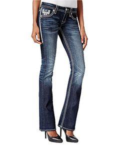 Rock Revival Womens Dee Low-Rise Contrast Trim Bootcut Jeans Blue 25