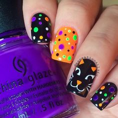 Halloween jack_o_lanternBlack Cat heart_eyes_cat Face An easy cat face for you guys so your Moms can paint it on your nail_careskin-tone-3nails too Tutorial will up later hourglass_flowing_sand today I used polishes from @hbbeautybar @chinaglazeofficial Lady and the Vamp @opi_products Black Onyx Details hand painted with Acrylic art paint @glistenandglow1 Hk Girl top