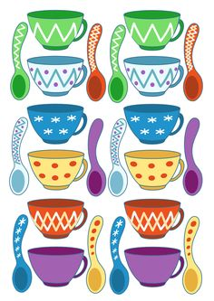 чашки и ложки рисунок