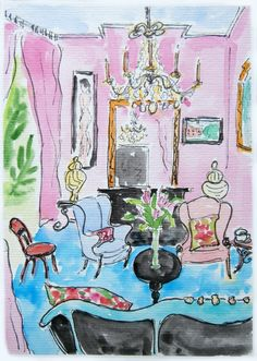 Pink room painting with chandelier. Ink pen and watercolor painting. by OldPenArtStudio on Etsy