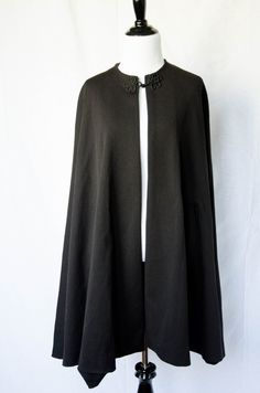 Vintage 1960's 'Eyre' Simple Black Cape  Size M by BeehausVintage on Etsy