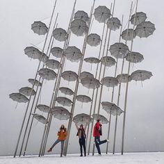 "You say ""singing in the rain"". We say ""dancing in the snow"" Thessaloniki, ❤… Singing In The Rain, Thessaloniki, Winter Day, Wind Chimes, Dancing, Stage, Snow, Music, Travel"