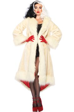 Disney Villains Cruella Coat Adult Costume --//-- d'oohhhhhh, I love her wig and coat!