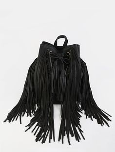 00487dc2fc Zipper Tassel Backpack BLACK