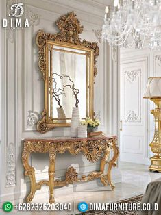 New Elegant Meja Konsol Jepara Ukir Cermin Mewah Golden Crown ST-0894 Rococo Furniture, Painted Furniture, Furniture Design, Console Table Living Room, Luxury Mirror, Living Room Goals, Rococo Style, Interior Exterior, Dream Decor