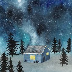 Home sweet home • Prints are available in my shop: society6.com/tinavandijkart (link in profile) • #tinavandijkart #cabin #galaxy #watercolor #aquarel #star #starrynight #christmas #trees #woods #home #illustration #drawing #illustrationoftheday #draw #drawings #illustratorsoninstagram #illustratratorsofinstagram #creative #creativebug #art #artistsoninstagram #artwork #art #blue #winsorandnewton #winsorandnewtonwatercolors #night #whimsical