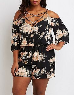 Plus Size Floral Lattice Cold Shoulder Romper *** Click image to review more details.