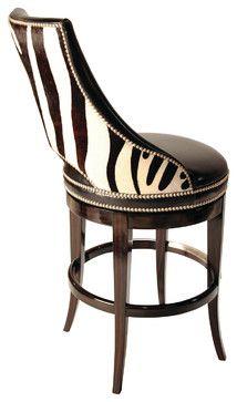 Zebrano Swivel Barstool, Back traditional bar stools and counter stools