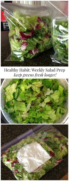 Weekly Salad Prep ~ Helps keep greens fresh longer and easier to make salads daily... You will never regret this healthy weekly salad prep