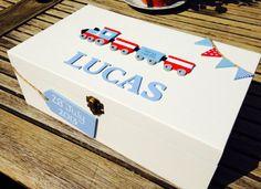 Personalised Keepsake box memory box train by Treasuredmemsbysarah, Baby Shower Presents, Baby Presents, New Baby Gifts, Baby Crafts, Diy And Crafts, Crafts For Kids, Baby Keepsake, Keepsake Boxes, Christmas Eve Box
