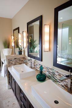 Raised sinks in this #bathroomremodel www.remodelworks.com